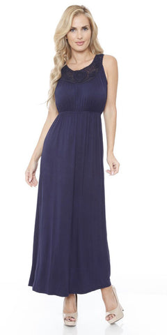 Katherine Maxi Dress Navy Blue Lace Neckline Wide Straps Empire