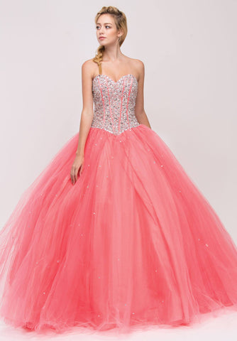 Beaded Corset Bodice Long Strapless Coral Princess Gown