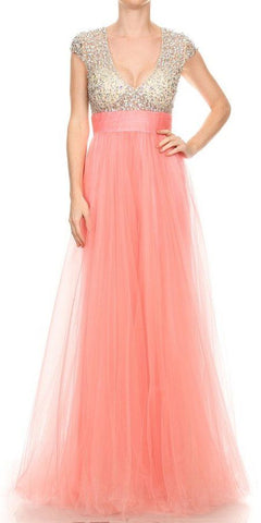 Pink Ruffled Cold-Shoulder Long Prom Dress