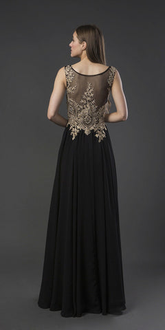 Black Long Prom Dress with Appliqued Bodice
