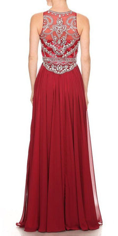 Wine Beaded Long Prom Dress Sleeveless