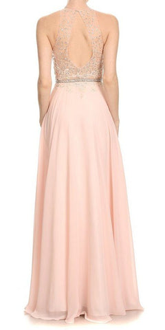 Halter Long Prom Dress Illusion Keyhole Back Blush