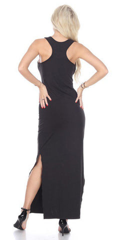Black Racer Back Casual Maxi Dress Sleeveless