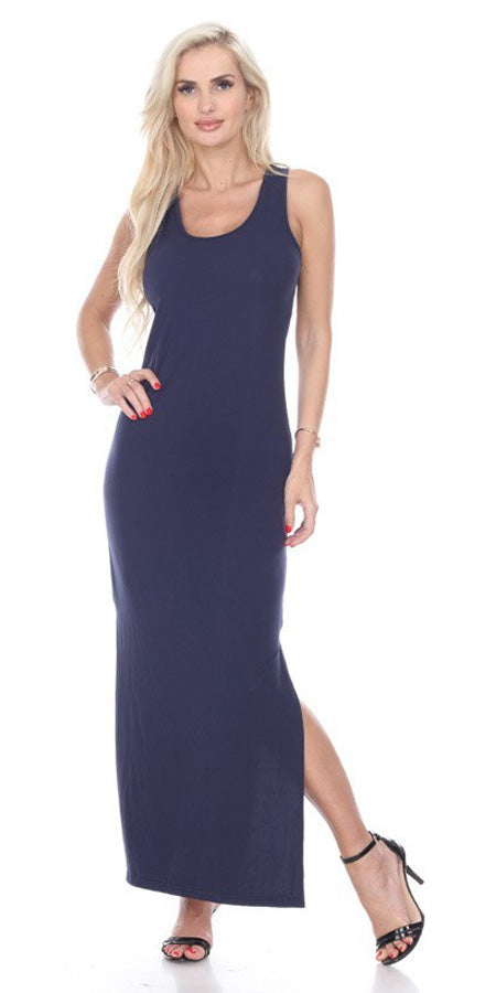Navy Blue Racer Back Casual Maxi Dress Sleeveless