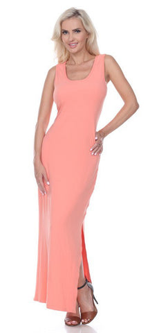 Coral Racer Back Casual Maxi Dress Sleeveless