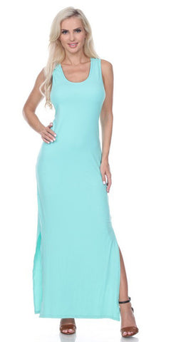 Mint Racer Back Casual Maxi Dress Sleeveless
