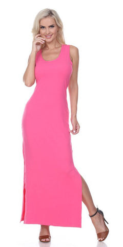 Fuchsia Racer Back Casual Maxi Dress Sleeveless