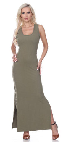 Olive Green Racer Back Casual Maxi Dress Sleeveless