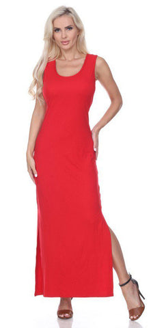 Red Racer Back Casual Maxi Dress Sleeveless