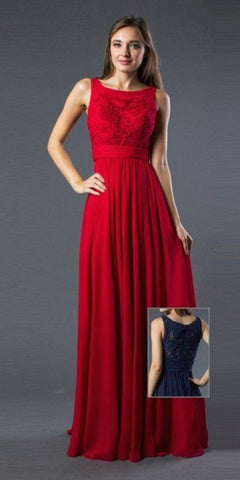 Red A-line Long Formal Dress Bateau Neckline