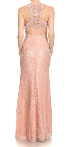 Long Formal Dress with Racer Cut-Out Back Dusty Rose