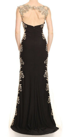 Appliqued Sweetheart Neck Long Prom Dress Black/Gold