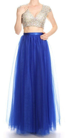 Cut-Out Back Two-Piece Long Prom Dress Royal Blue