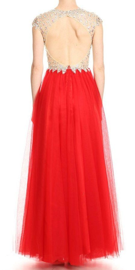 Deep V-Neck Illusion Bodice Red Prom Gown