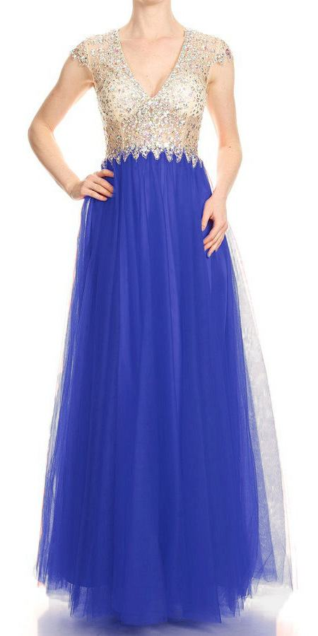 Deep V-Neck Illusion Bodice Royal Blue Prom Gown