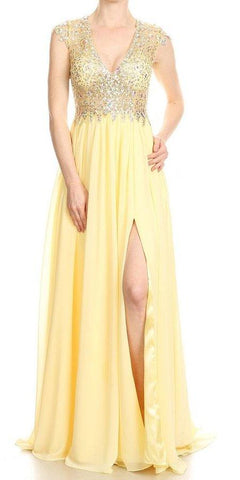 Long Prom Dress Cut-Out Back with Slit Yellow