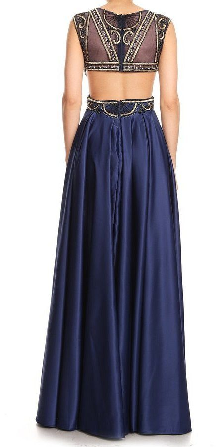 Navy Blue Embroidered Bodice Long Prom Dress