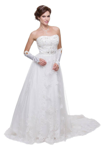 Long White Wedding Gown Strapless Beading Tie Back Sheer Overlay