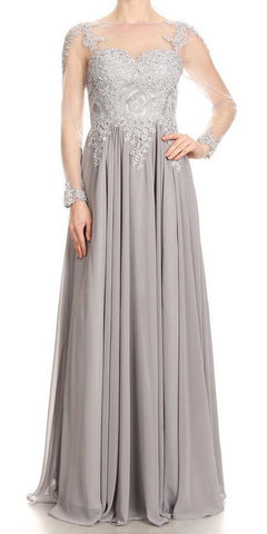 Silver Appliqued Long Formal Dress with Illusion Long Sleeves