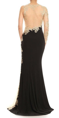 Appliqued One-Sleeve Long Formal Dress Black