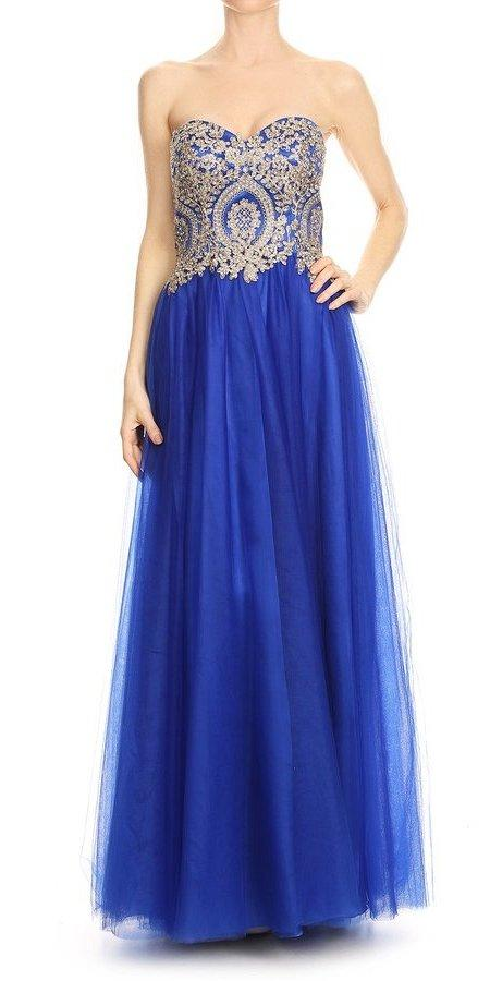 Strapless Long Prom Dress Appliqued Bodice Royal Blue