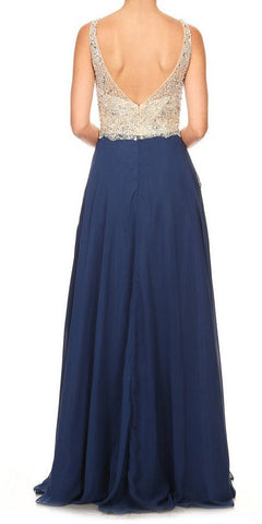 V-Neck Embellished Long Prom Dress Navy Blue