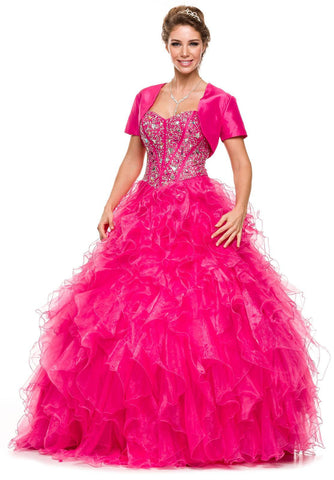 Special Poofy Fuchsia Quinceanera Organza Dress Boned Strapless