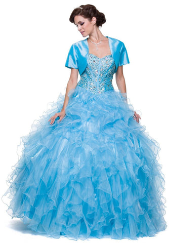 Special Poofy Turquoise Quinceanera Organza Dress Boned Strapless