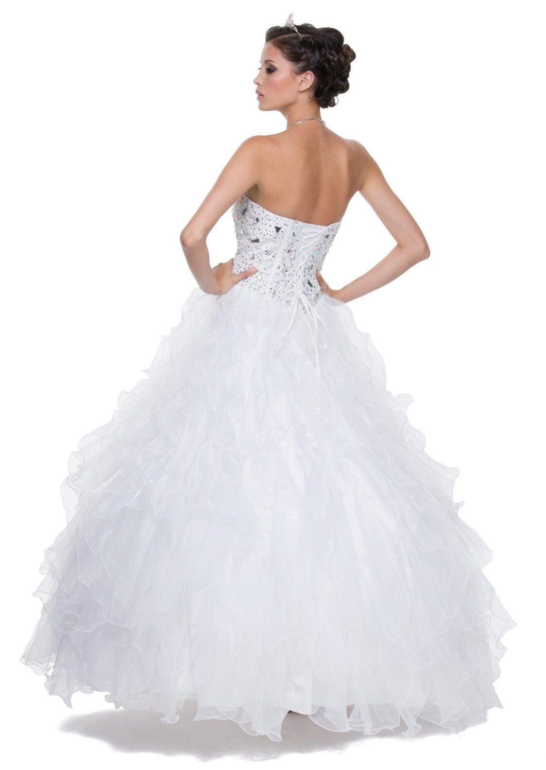 Special Poofy White Quinceanera Organza Dress Boned Strapless