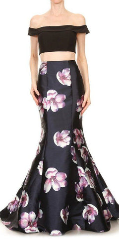 Floral Skirt Black Crop Top Two-Piece Prom Gown