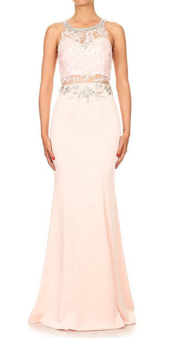 Blush Long Formal Dress with Sheer Lace Midriff