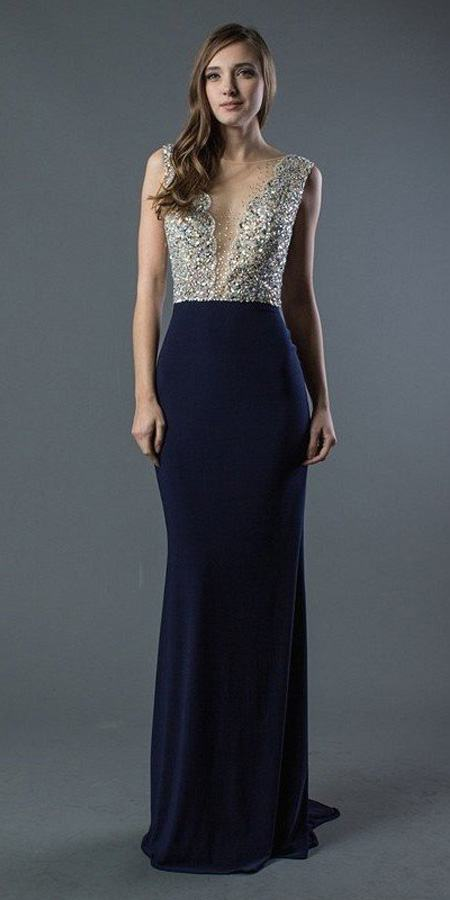 Beaded Sheer Cut-Out Top Long Prom Dress Navy Blue
