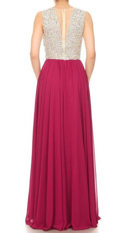 Wine Long Formal A-Line Dress with Beaded Bodice