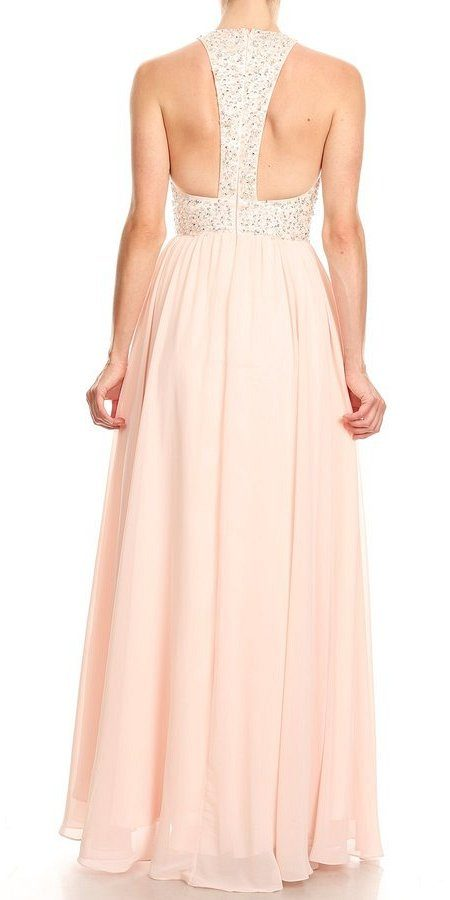 Blush Halter Long Prom Dress with Racer Back