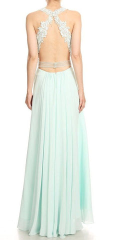 Cut-Out Back A-Line Long Prom Dress Aqua