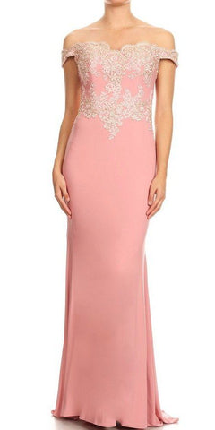 Off-Shoulder Appliqued Long Formal Dress Dusty Rose