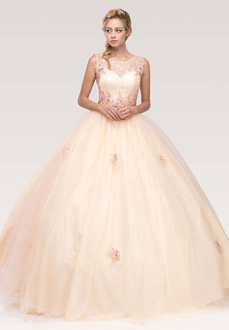 Illusion Lace Embellished Bodice Quinceanera Dress Blush/Champagne