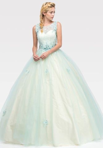 Illusion Lace Embellished Bodice Quinceanera Dress Mint/Champagne