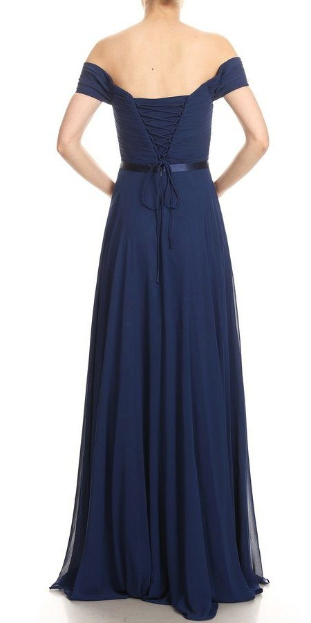 Navy Blue Off-Shoulder Long Formal Dress Lace-Up Back
