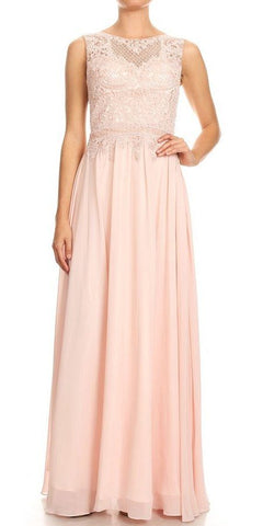 Blush Appliqued Bodice Long Formal Dress Sleeveless