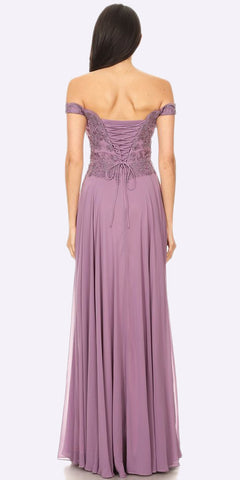 Off the Shoulder Mauve Formal Dress Floor Length Lace Bodice