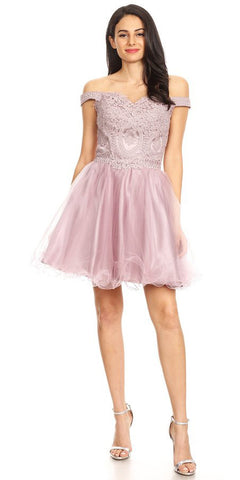 Short Off the Shoulder Mauve Dress Lace Bodice Organza Skirt Corset