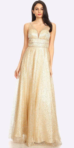 Gold-Foil Floor Length Prom Dress Halter Beaded Waist