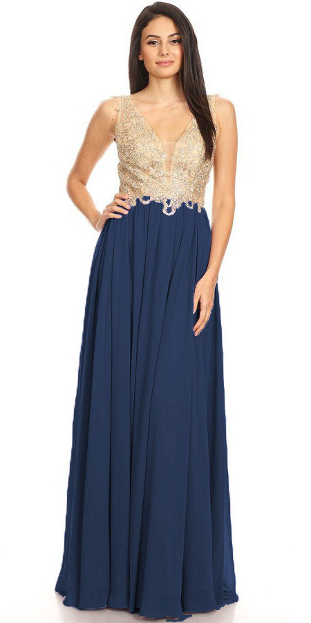 Navy Blue Lace-Applique Bodice Long Formal Dress Sleeveless