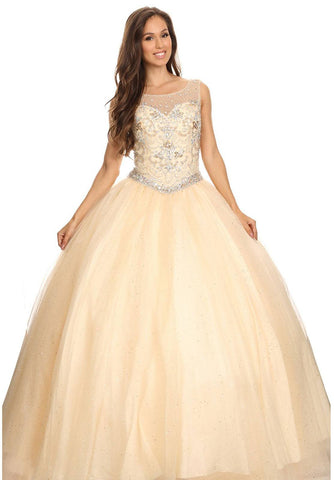 Champagne Round Neck Jeweled Bodice Lace Up Back Mesh Quinceanera Dress