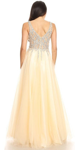 Embellished V-Neck Long Prom Dress Champagne