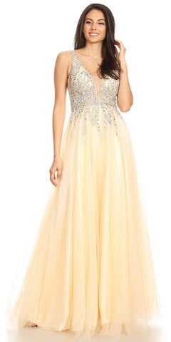 V-Shape Back Gold/Champagne Long Prom Dress with Pockets