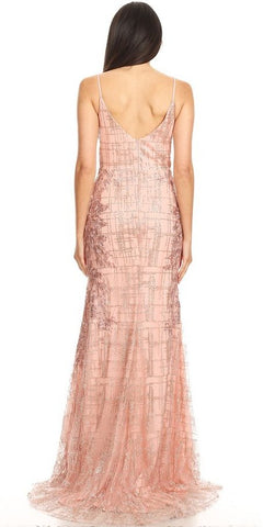 Dusty Rose Appliqued Long Prom Dress with Spaghetti Straps