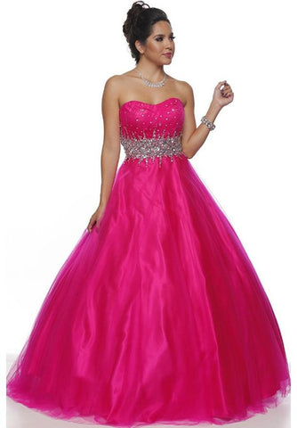 Studded Waist Sweetheart Neck Fuchsia Long A Line Gown