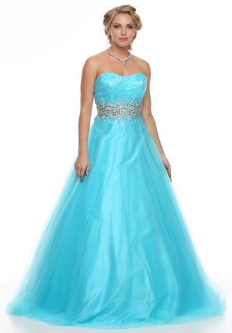 Studded Waist Sweetheart Neck Turquoise Long A Line Gown